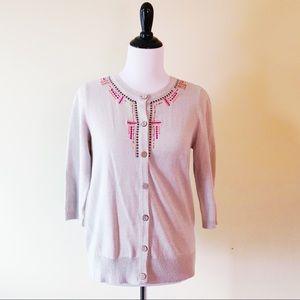 BRECKENRIDGE Tan Pink Embellished Cardigan Sweater